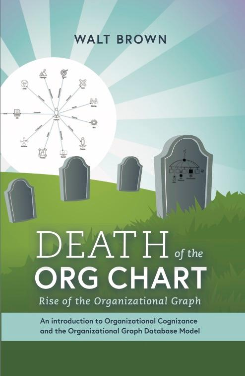 Image of the cover of the book death of the org chart showing headstones that represent org charts dying and a sun showing org graphsr . rts